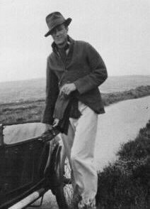Tom Rolt, on the Brecon Beacons circa 1934, with his first motor car, a 1922 GN Popular